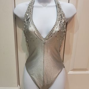 GIDEON OBERSON SILVER ONE PIECE BATHING SUIT, SZ 8